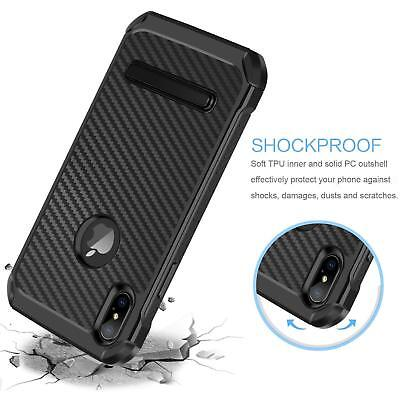 Fits iPhone Carbon Fiber Hybrid Rugged Hard Armor Shockproof Kickstand Case 3