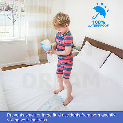 Fully Fitted Waterproof Cotton Mattress Protector All Sizes Pillow Cover 3