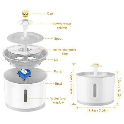 2.4L Automatic Pet Cat Water Fountain Drinking Dispenser LED Light Ultra Silent 6