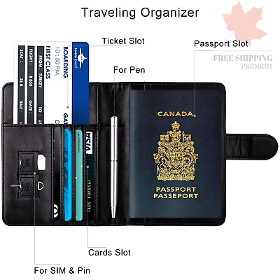 WALNEW RFID Blocking Passport Holder Travel Wallet Cover Case 5