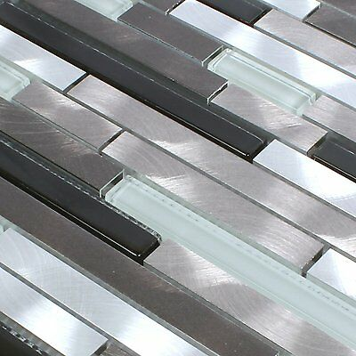 1 Von 4 Aluminium Glas Mosaik Fliesen Braun Schwarz Weiss Silber Badmosaik  Bad Küchen