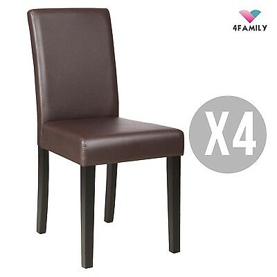 4 Pcs Leather Dining Chair Kitchen Room Backrest Elegant Design Furniture Brown 3