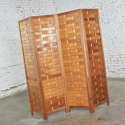 Mid Century Woven Wood Folding Screen 4 Panel Room Divider in Pine 6