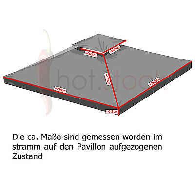 Pavillondach WASSERDICHT 310g/m² (Option) ERSATZDACH wasserfest PVC knapp ~ 3x3m 5