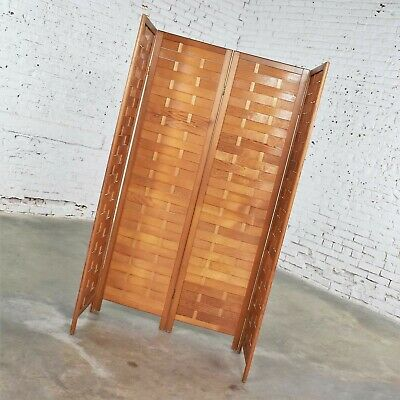 Mid Century Woven Wood Folding Screen 4 Panel Room Divider in Pine 4