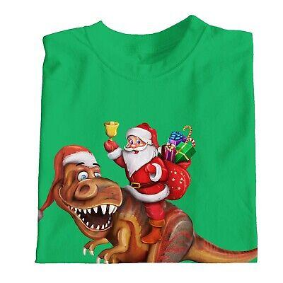 1Tee Kids Boys Santa Riding Dinosaur T rex Christmas T Shirt T-Shirt 4
