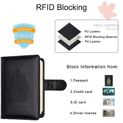 WALNEW RFID Blocking Passport Holder Travel Wallet Cover Case 4