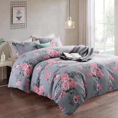 Luxury Reversible Arren  Floral Duvet Quilt Cover Bedding Set Single Double King
