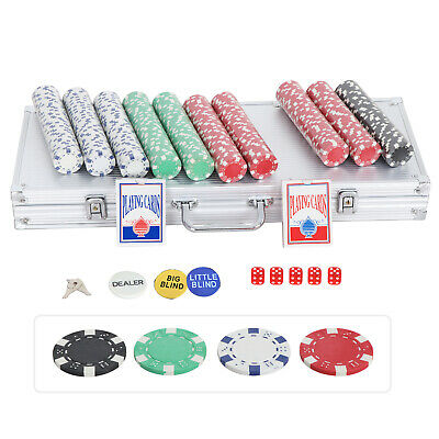 Pro 500PCS Poker Chips Set W/2 Cards +5 Dices+Aluminum Carry Case Table Game 6