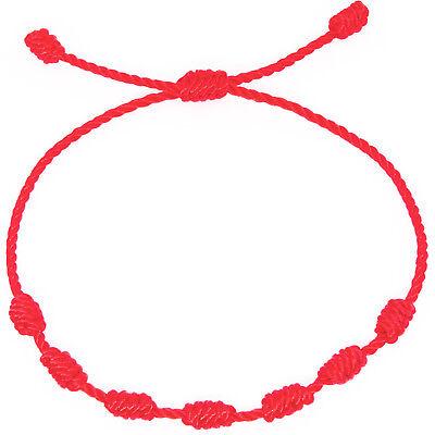 Pulsera roja de 7 nudos de la suerte para hombre o mujer de hilo bracelets 5