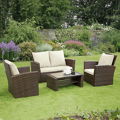 GSD Rattan Garden Furniture 4 Piece Patio Set Table Chairs Grey Black or Brown 12