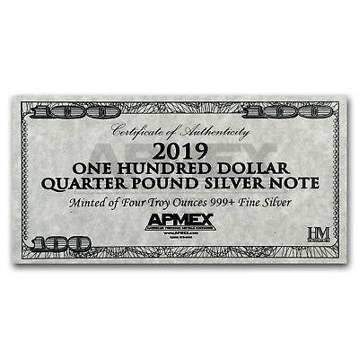 4 oz Silver Bar - 2019 $100 Bill (w/Box & COA) - SKU#176793 4