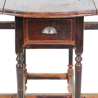 Antique Asian Chinese 42 inch Round Drop Leaf Gate Leg Table 7