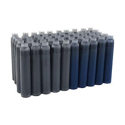 Thornton's Standard Fountain Pen Ink Cartridges, Black & Blue Ink, Pack of 50 2
