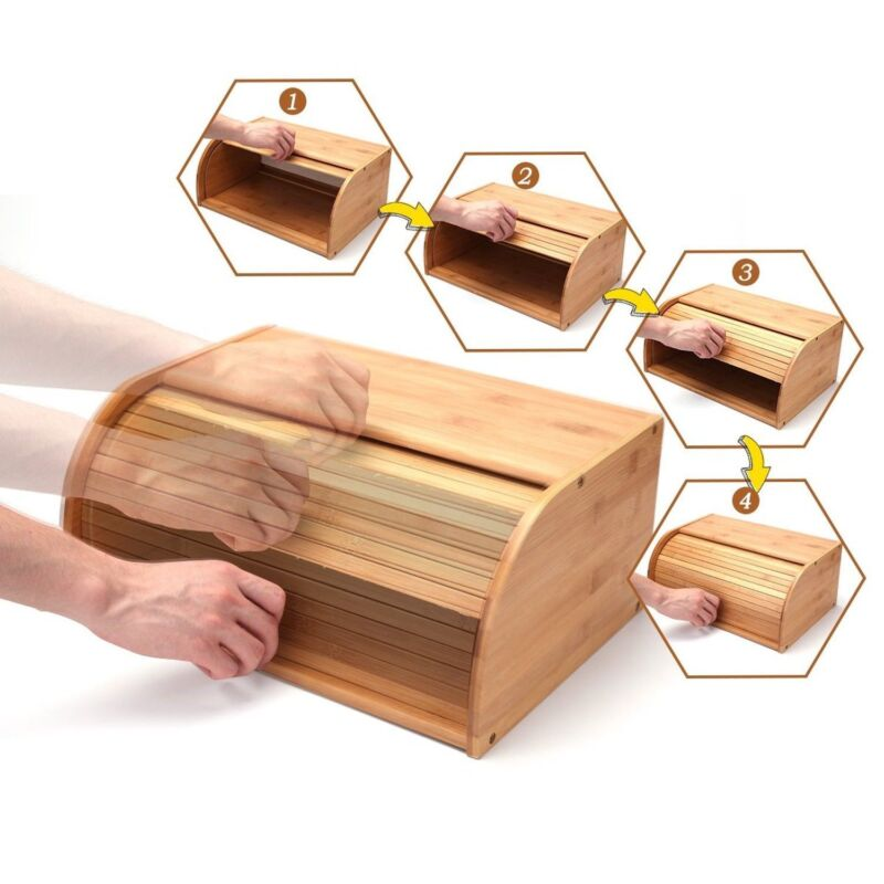 Roll top Bamboo Bread Box Wooden Storage Loaf Container Home Kitchen Food holder 4