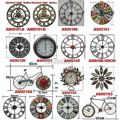 Large Metal and Wooden Industrial French Provincial Antique Round Wall Clock 2