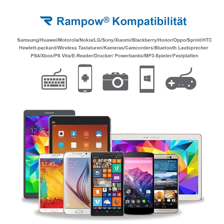 2x RAMPOW 1m Micro USB Kabel Schnell Ladekabel für Samsung S6 S7 Sony PS4 Huawei 8