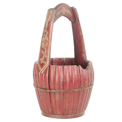 """Antique Chinese Carved Wood Utility Food Basket Bucket w/ Handle  10"""" Dia X 18"""" 4"""