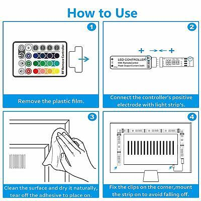 USB 1M-5M Light RGB Color 5050 LED Strip Light TV Backlight + Remote Control 2