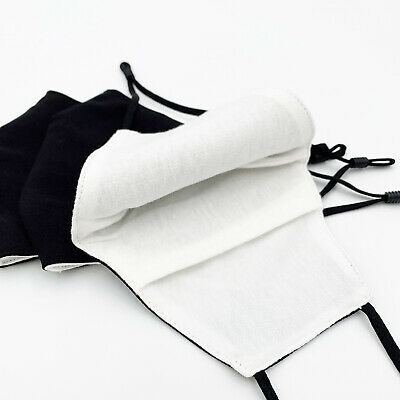 [3 PACK] Black Handmade Reusable Washable Cotton Cloth Face Mask 2 Layers Cover 3
