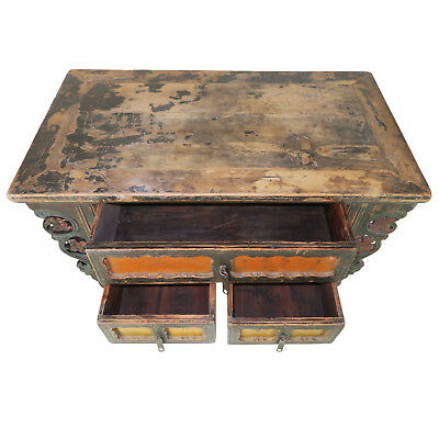 """Antique Chinese Asian 43 """" Wide 3 Drawer Table Coffer Cabinet Vanity 6"""
