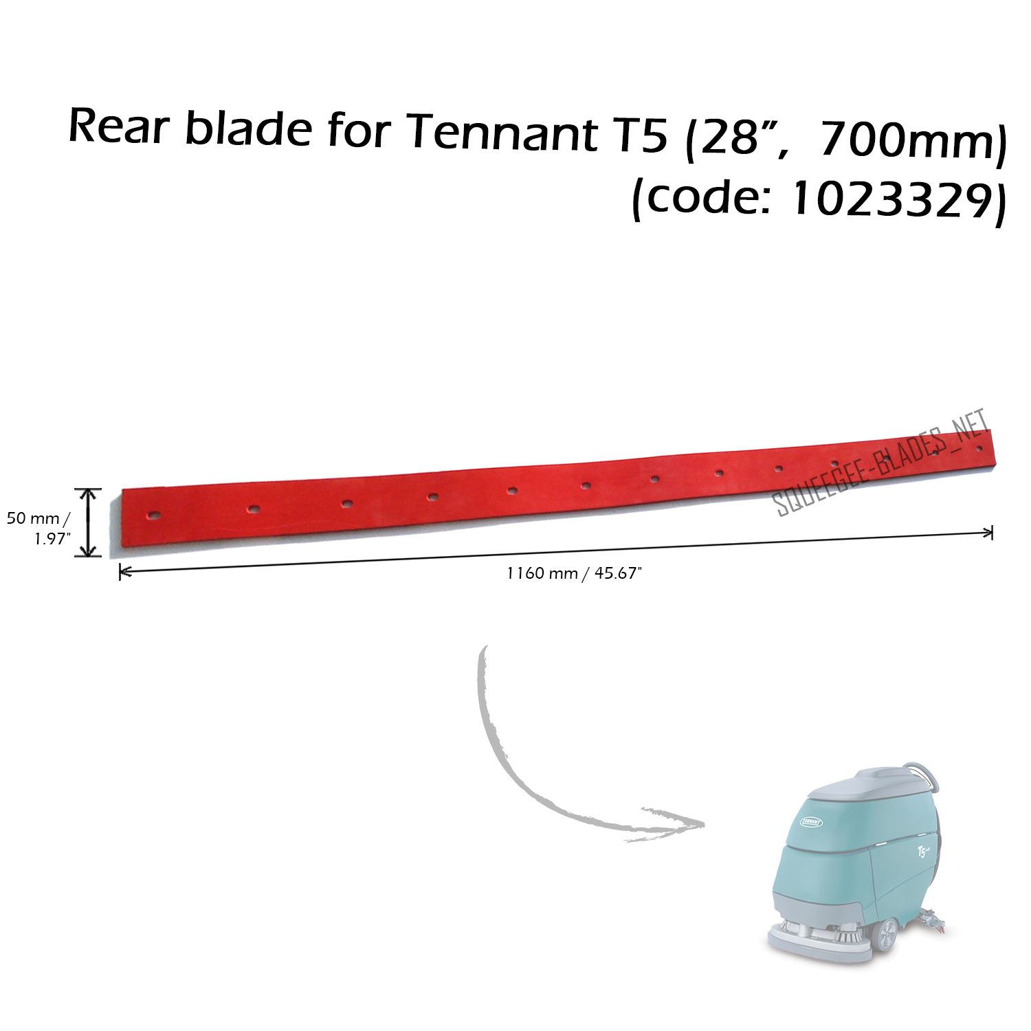 "Squeegee blade set for Tennant T5 (28"", 700mm) - FREE WORLDWIDE SHIPPING! 3"