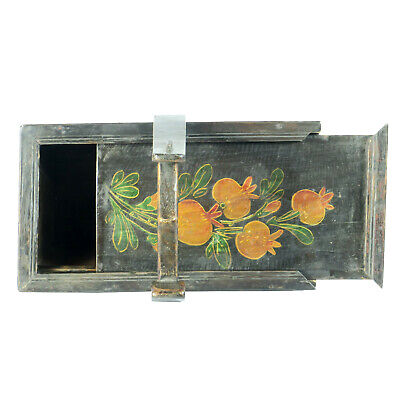 Small Antique Chinese Painted Food Utility Box, Black with Colorful Paintings 9