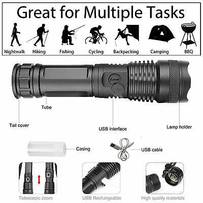 High Power 900000Lumens XHP50 Zoom Flashlight LED Rechargeable Torch Headlamp 9