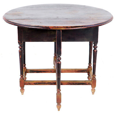 Antique Asian Chinese 42 inch Round Drop Leaf Gate Leg Table 9