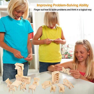 Mini 3D Wooden Puzzle DIY 34 Pcs Miniature Dollhouse Furniture Models For Doll 7