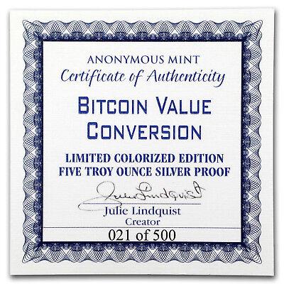 5 oz Silver Colorized Proof Round Bitcoin Value Conversion - SKU#166859 4