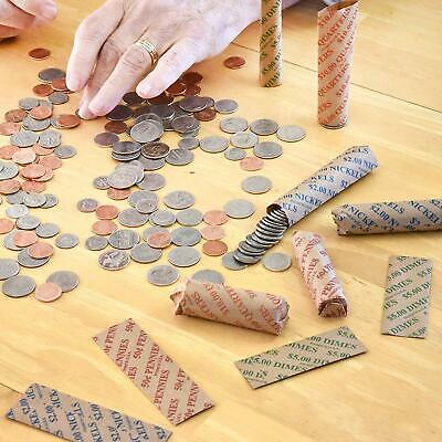 200ct Assorted Flat Coin Wrappers Tubes Rolls Quarters Pennies Nickels Dimes 7