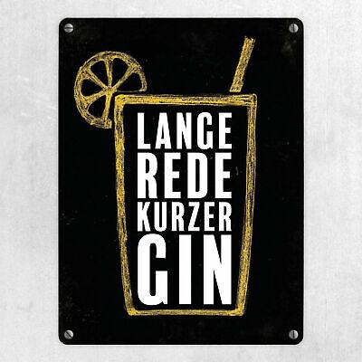 Interluxe Metallschild - Schild Geschenk Ginliebe Lange Rede kurzer Gin 2