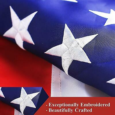 3'x5' ft, American USA US Flag | EMBROIDERED Stars, Sewn Stripes, Brass Grommets 2