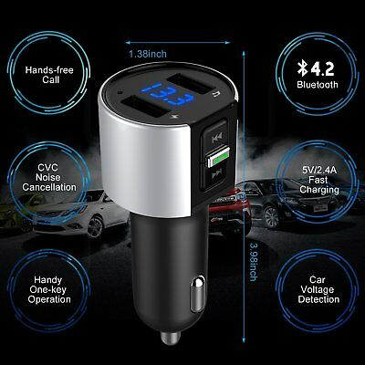 Bluetooth In-Car MP3 FM Wireless Transmitter Dual USB LCD Charger Kit Handsfree 3