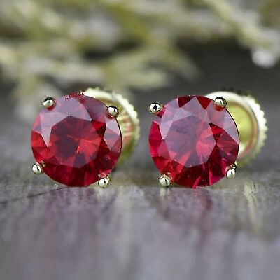 4ct CZ Stud Earrings Brilliant Cut Cubic Zirconia men women 10mm 14K gold plated 5
