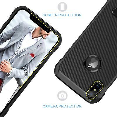 Fits iPhone Carbon Fiber Hybrid Rugged Hard Armor Shockproof Kickstand Case 4