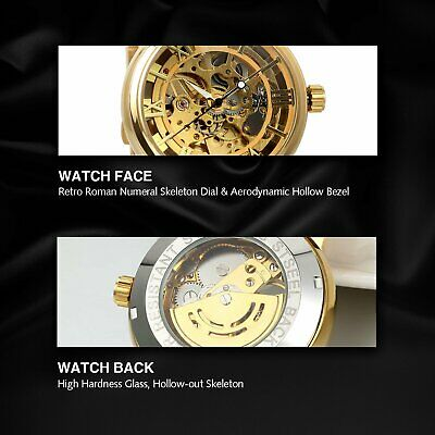 Luxury Mens Stainless Steel Gold Tone Skeleton Automatic Mechanical Wrist Watch 4