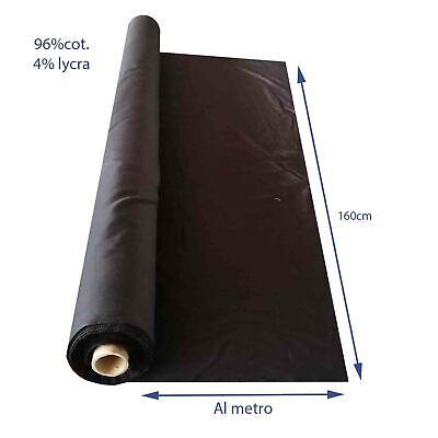 tessuto al metro in cotone nero leggero elasticizzato da rotolo per camicie 1,5m 2