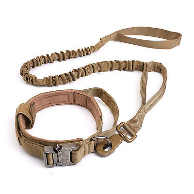 HEAVY DUTY K9 Military Dog Collar Leash Handle Medium Large metal Buckle 5