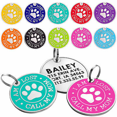 Dog ID Tag Free Custom Personalized Engraved Enamel Pet Puppy Cat Name Charm S L 2