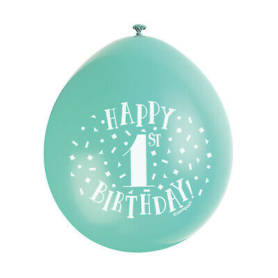 """10 HAPPY 1st BIRTHDAY 9"""" BLUE PINK MIX Latex Balloons Party Decoration Air Fill 9"""