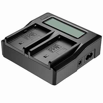 LCD Display Dual 2-Battery Charger For Sony NP-F970 F960 F950 F770 F750 F550