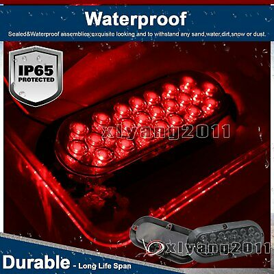 "4X Waterproof 12V Tow Truck Lamp 6"" Smoked Lens Red 24 LED Oval Brake Tail Light 4"