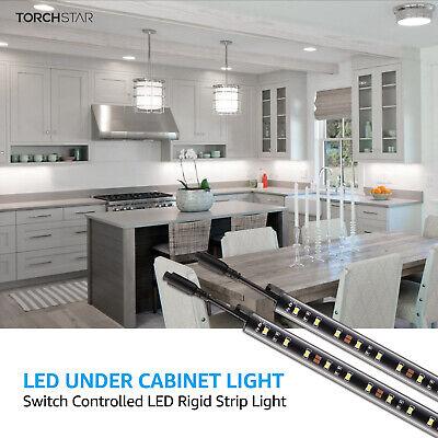 6pcs Led Under Cabinet Lighting Kit Rocker Switch Light Bar For Shelf 5000k