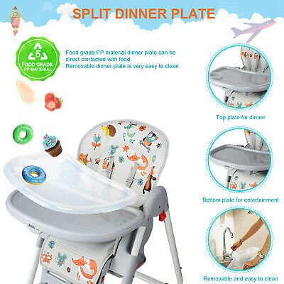 New Baby High Foldable Convertible Table Seat Booster Toddler Feeding Highchair 7