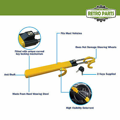 Heavy Duty Steering Wheel Lock for Vauxhall. Twin Bar High Security Hi-Vis 7