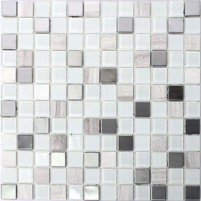 SELBSTKLEBENDE METALL STEIN Glas Mosaik Fliesen Weiss EUR - Selbstklebende mosaik fliesen verfugen