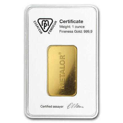 1 oz Gold Bar - Metalor (In Assay) - SKU#166446 2