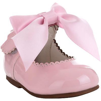 Girls Bridesmaids Bow Ribbon Party Shoes Patent Shoes Infant Sizes UK 1,3,5,7,10 2